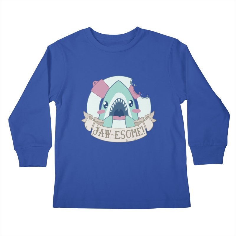 Jawesome! (Great White Shark) Kids Longsleeve T-Shirt by Byte Size Treasure's Shop