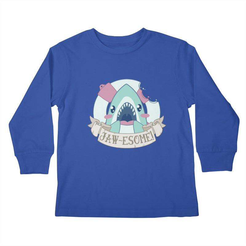 Jawesome! (Great White Shark) Kids Longsleeve T-Shirt by Byte Size Treasure's Shop