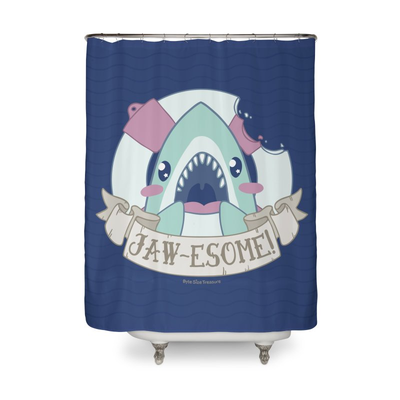 Jawesome! (Great White Shark) Home Shower Curtain by Byte Size Treasure's Shop