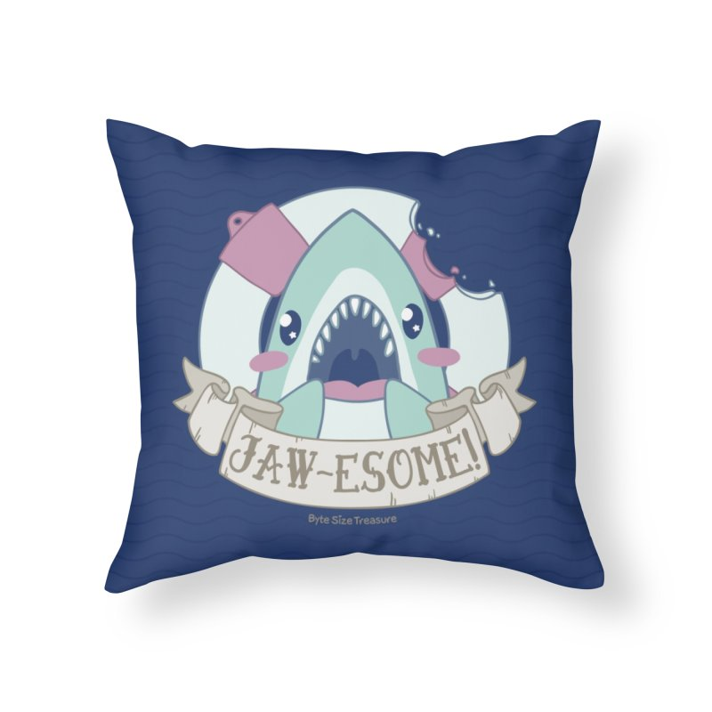 Jawesome! (Great White Shark) Home Throw Pillow by Byte Size Treasure's Shop