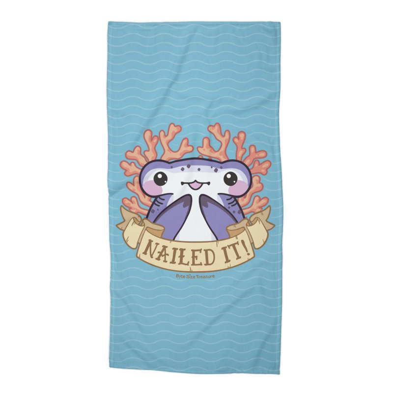 Nailed It! (Hammerhead Shark) Accessories Beach Towel by Byte Size Treasure's Shop