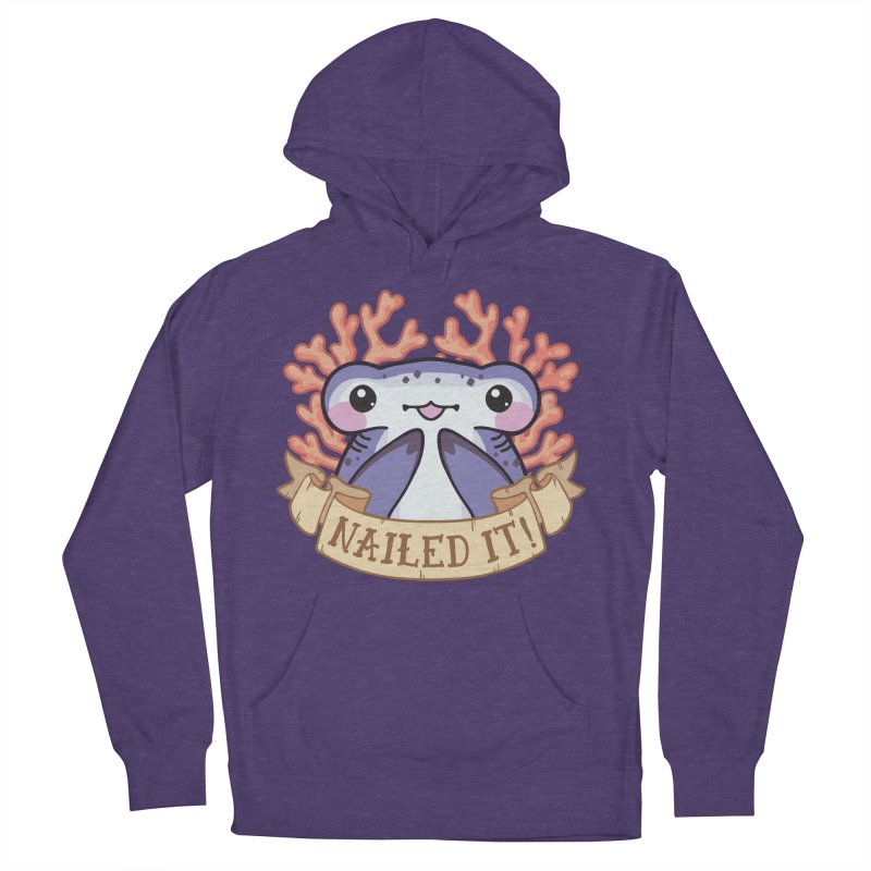 Nailed It! (Hammerhead Shark) in Men's French Terry Pullover Hoody Heather Purple by Byte Size Treasure's Shop