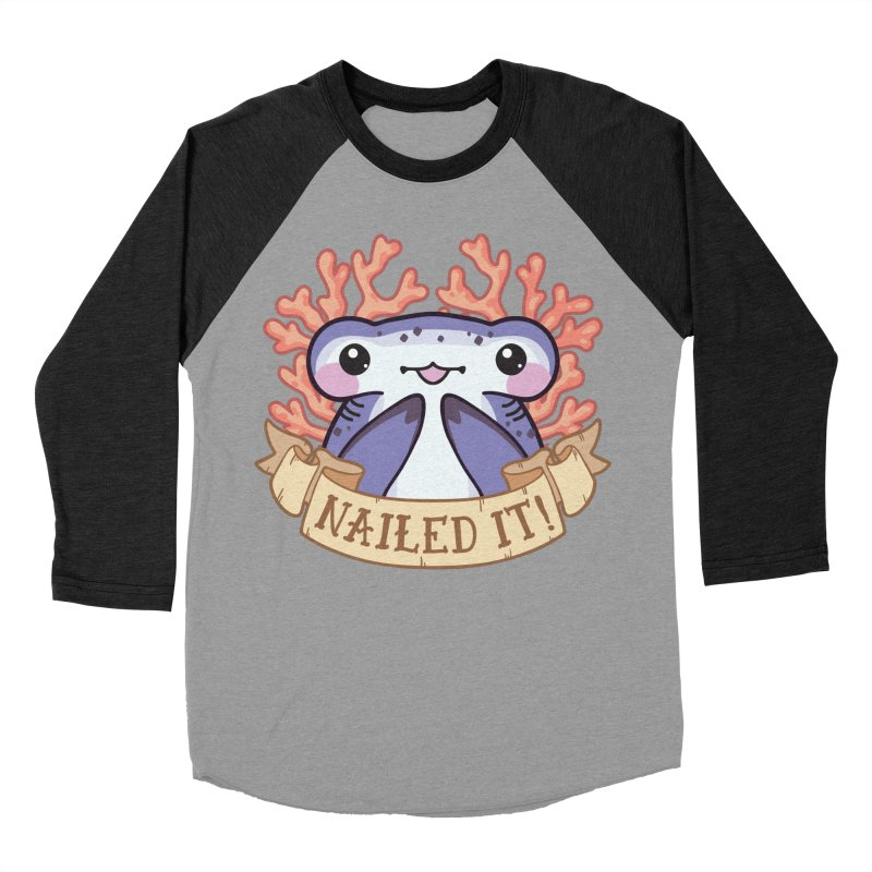 Nailed It! (Hammerhead Shark) Men's Baseball Triblend Longsleeve T-Shirt by Byte Size Treasure's Shop