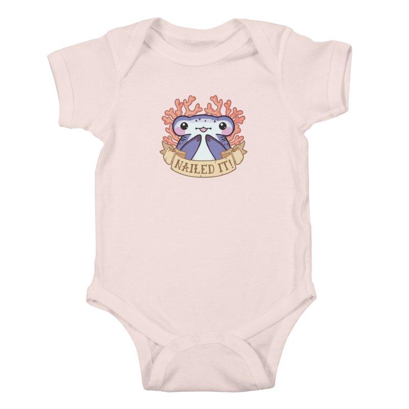 Nailed It! (Hammerhead Shark) in Kids Baby Bodysuit Soft Pink by Byte Size Treasure's Shop