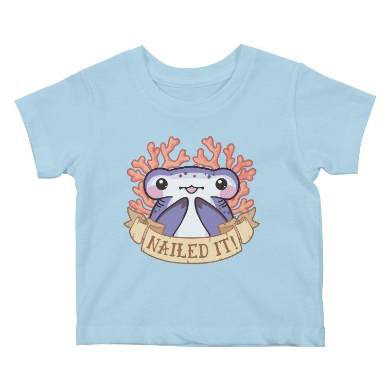 Nailed It! (Hammerhead Shark) in Kids Baby T-Shirt Powder Blue by Byte Size Treasure's Shop