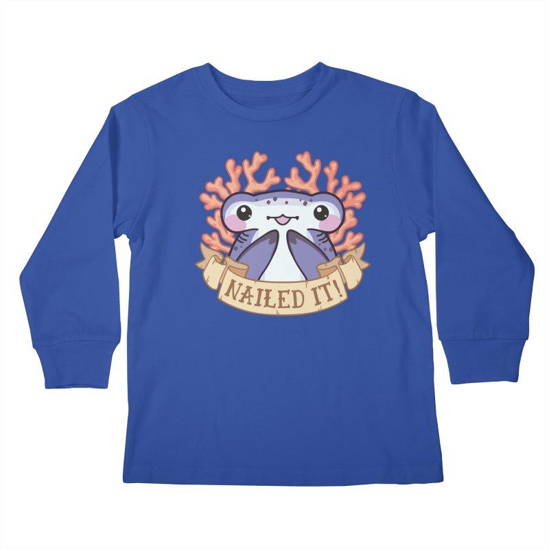Nailed It! (Hammerhead Shark) Kids Longsleeve T-Shirt by Byte Size Treasure's Shop