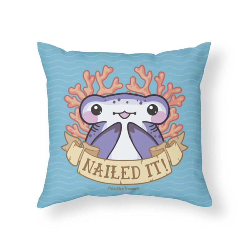 Nailed It! (Hammerhead Shark) Home Throw Pillow by Byte Size Treasure's Shop