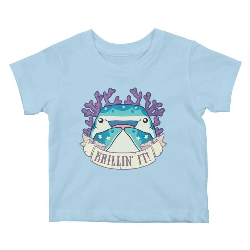 Krillin' It! (Whale Shark) in Kids Baby T-Shirt Powder Blue by Byte Size Treasure's Shop