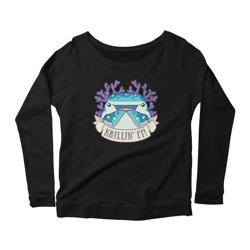 Krillin' It! (Whale Shark) Women's Scoop Neck Longsleeve T-Shirt by Byte Size Treasure's Shop