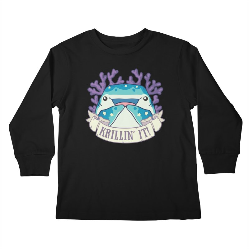 Krillin' It! (Whale Shark) Kids Longsleeve T-Shirt by Byte Size Treasure's Shop