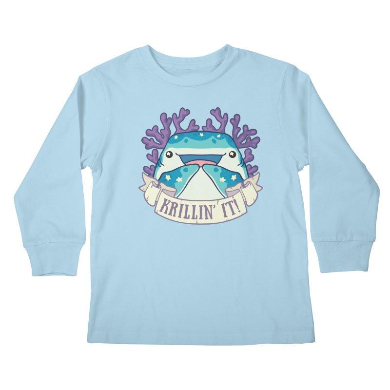 Krillin' It! (Whale Shark) Kids Longsleeve T-Shirt by Byte Size Treasure's Shop