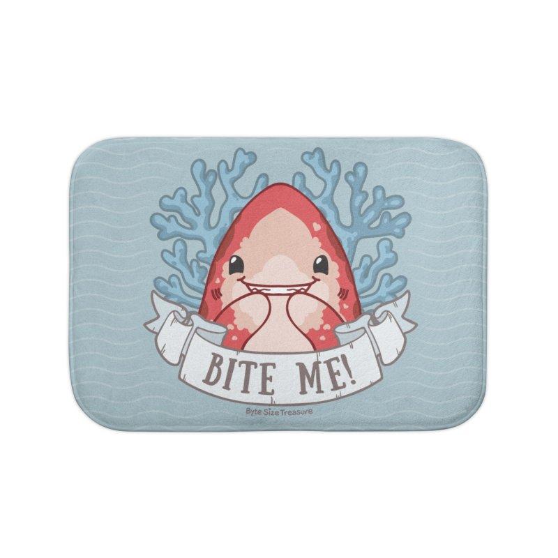 Bite Me! (Oceanic Whitetip Shark) Home Bath Mat by Byte Size Treasure's Shop