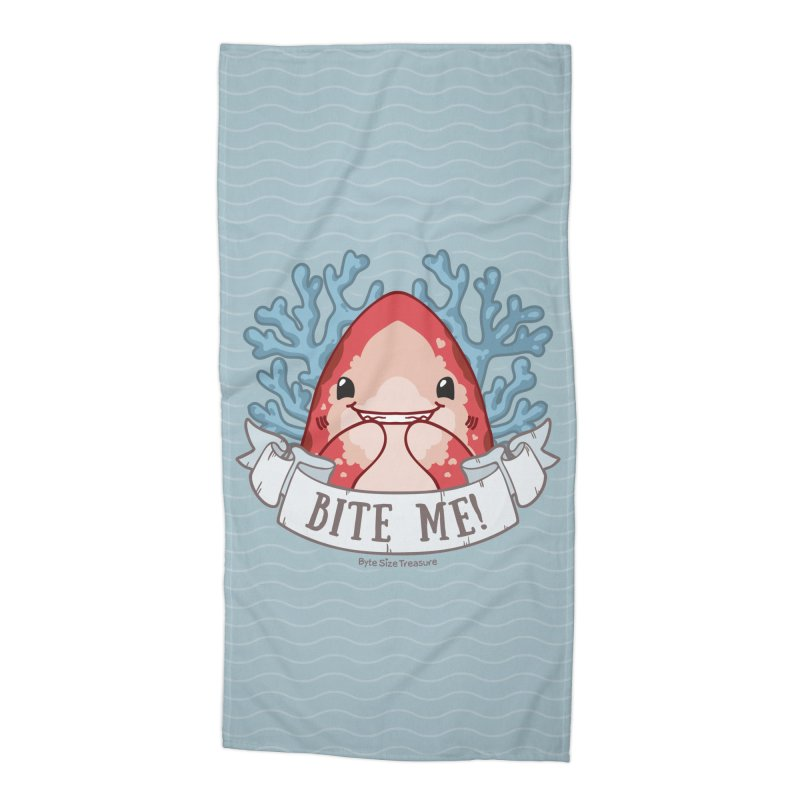 Bite Me! (Oceanic Whitetip Shark) Accessories Beach Towel by Byte Size Treasure's Shop