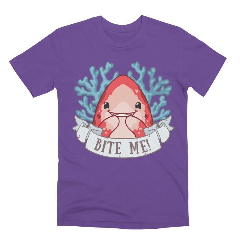 Bite Me! (Oceanic Whitetip Shark) Men's Premium T-Shirt by Byte Size Treasure's Shop