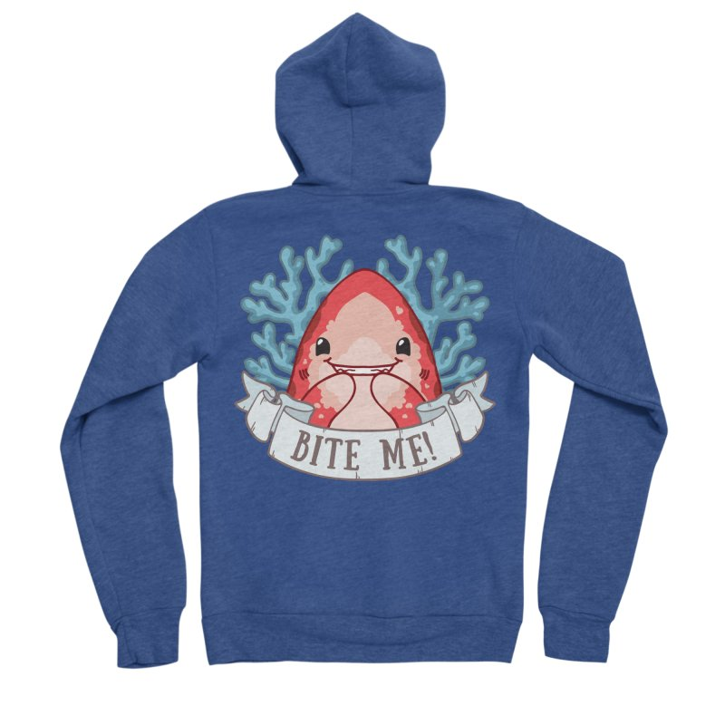 Bite Me! (Oceanic Whitetip Shark) Men's Sponge Fleece Zip-Up Hoody by Byte Size Treasure's Shop