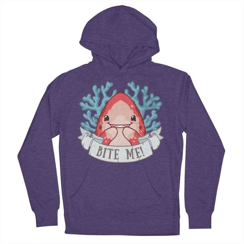 Bite Me! (Oceanic Whitetip Shark) in Men's French Terry Pullover Hoody Heather Purple by Byte Size Treasure's Shop