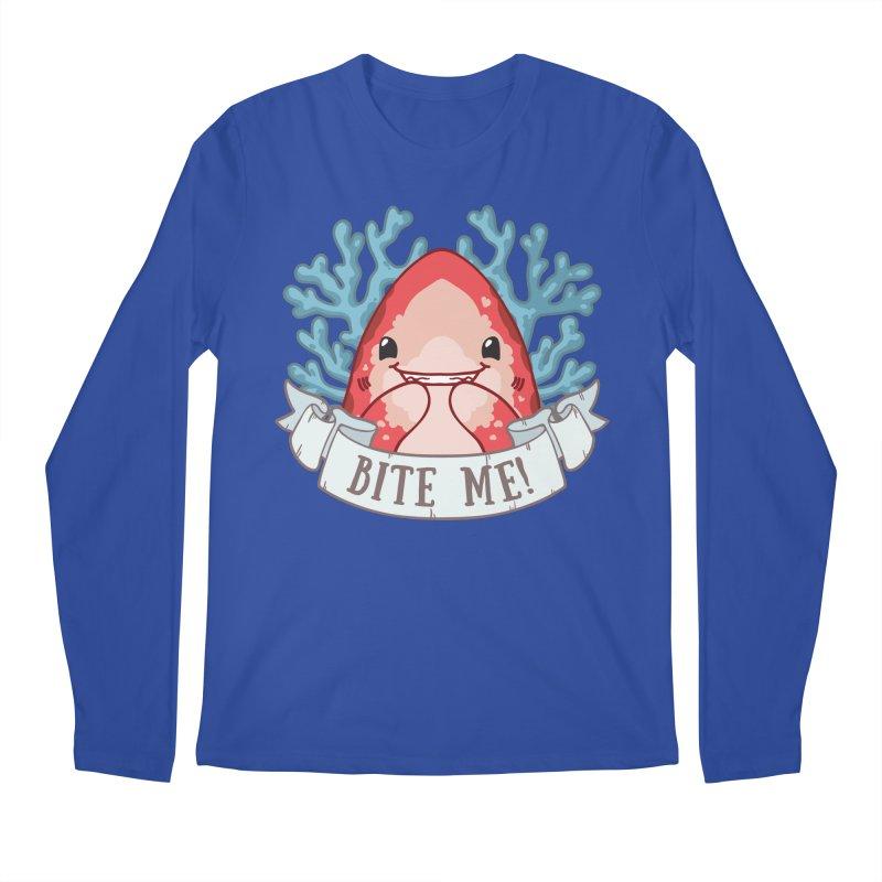 Bite Me! (Oceanic Whitetip Shark) in Men's Regular Longsleeve T-Shirt Royal Blue by Byte Size Treasure's Shop