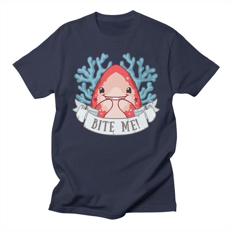 Bite Me! (Oceanic Whitetip Shark) in Women's Regular Unisex T-Shirt Navy by Byte Size Treasure's Shop