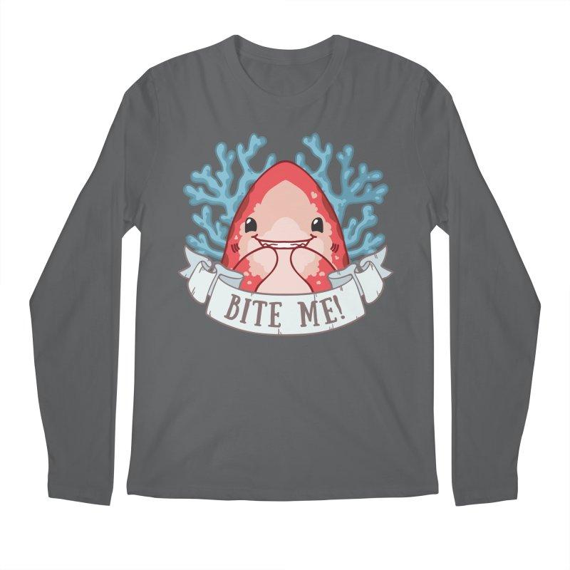 Bite Me! (Oceanic Whitetip Shark) Men's Regular Longsleeve T-Shirt by Byte Size Treasure's Shop