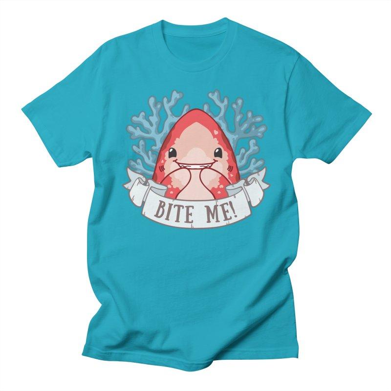 Bite Me! (Oceanic Whitetip Shark) Men's Regular T-Shirt by Byte Size Treasure's Shop
