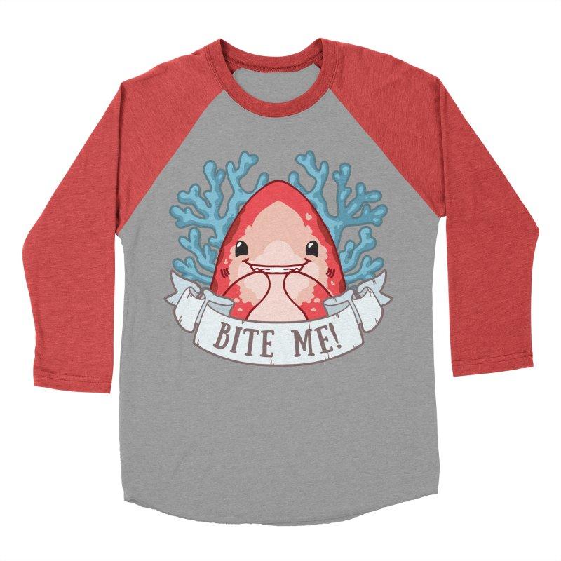 Bite Me! (Oceanic Whitetip Shark) Women's Baseball Triblend Longsleeve T-Shirt by Byte Size Treasure's Shop
