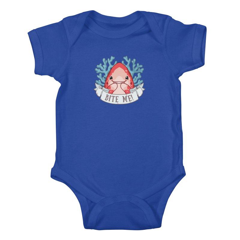 Bite Me! (Oceanic Whitetip Shark) in Kids Baby Bodysuit Royal Blue by Byte Size Treasure's Shop