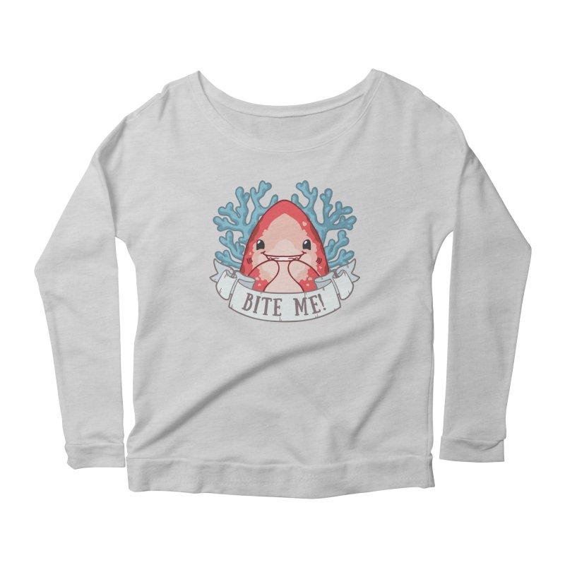 Bite Me! (Oceanic Whitetip Shark) Women's Scoop Neck Longsleeve T-Shirt by Byte Size Treasure's Shop