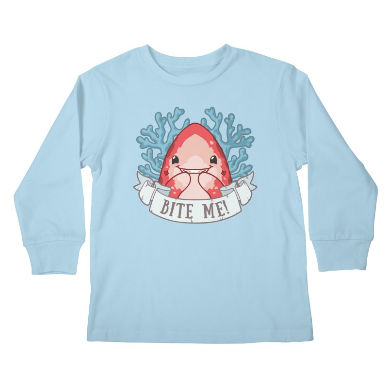 Bite Me! (Oceanic Whitetip Shark) Kids Longsleeve T-Shirt by Byte Size Treasure's Shop