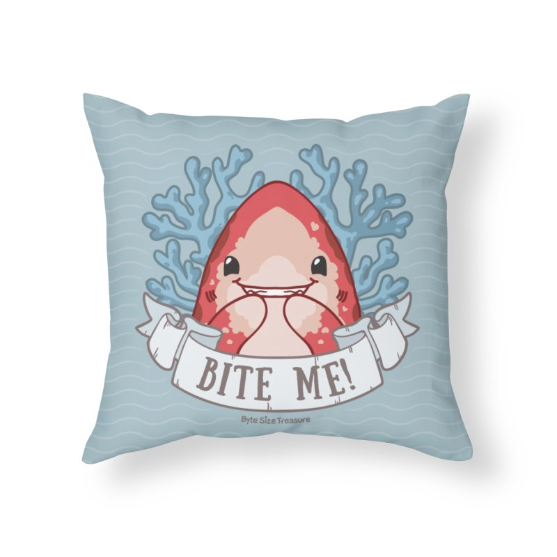 Bite Me! (Oceanic Whitetip Shark) Home Throw Pillow by Byte Size Treasure's Shop