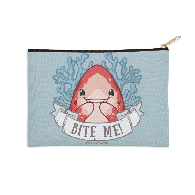 Bite Me! (Oceanic Whitetip Shark) Accessories Zip Pouch by Byte Size Treasure's Shop