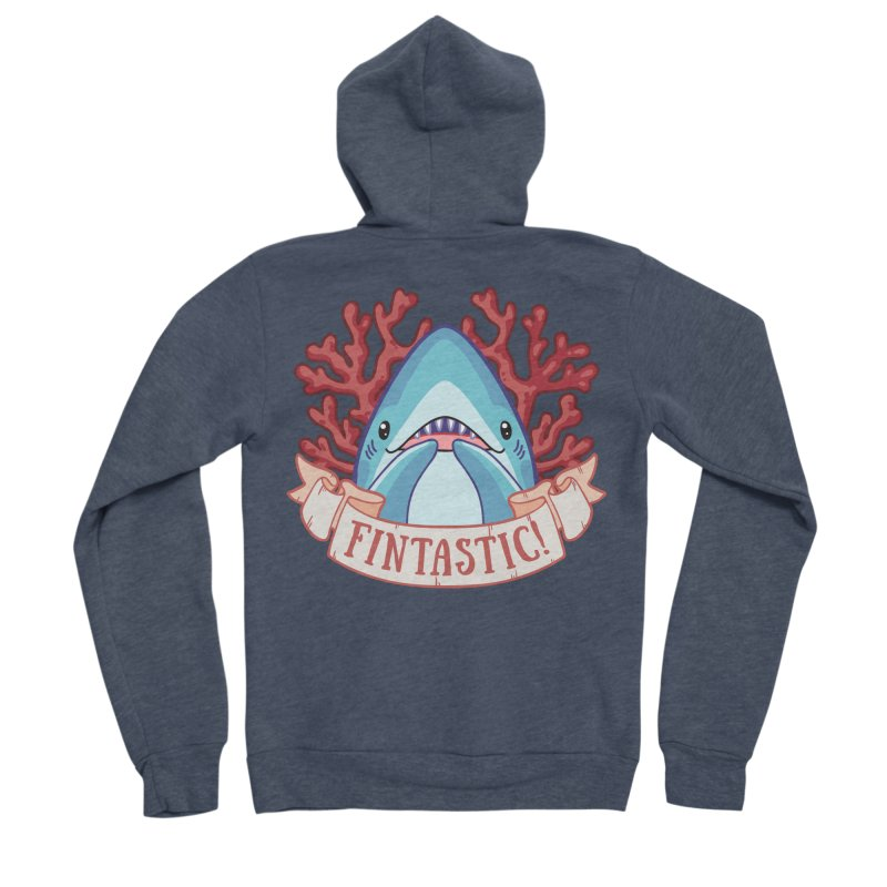 Fintastic! (Thresher Shark) Men's Sponge Fleece Zip-Up Hoody by Byte Size Treasure's Shop