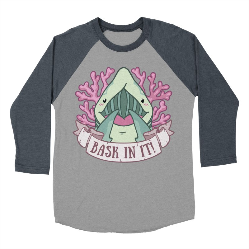 Bask In It! (Basking Shark) Men's Baseball Triblend Longsleeve T-Shirt by Byte Size Treasure's Shop