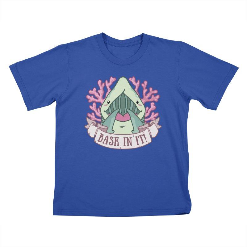 Bask In It! (Basking Shark) Kids T-Shirt by Byte Size Treasure's Shop
