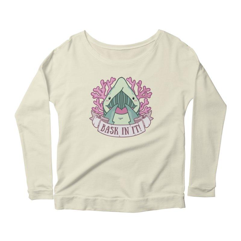 Bask In It! (Basking Shark) Women's Scoop Neck Longsleeve T-Shirt by Byte Size Treasure's Shop