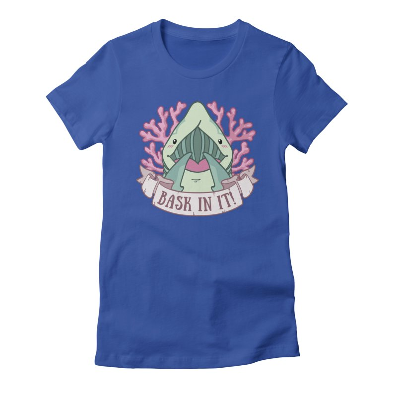Bask In It! (Basking Shark) Women's Fitted T-Shirt by Byte Size Treasure's Shop