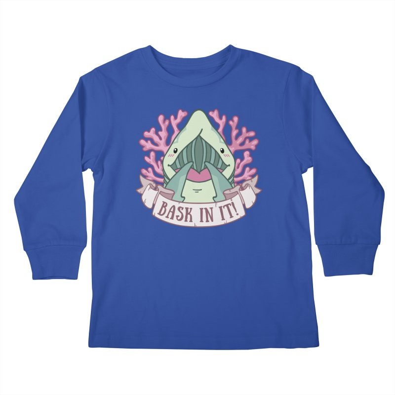 Bask In It! (Basking Shark) Kids Longsleeve T-Shirt by Byte Size Treasure's Shop