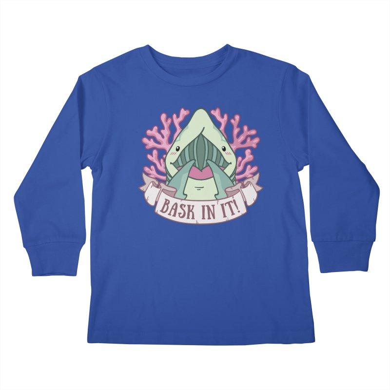 Bask In It! (Basking Shark) Kids Longsleeve T-Shirt by Byte Size Treasure's Shop