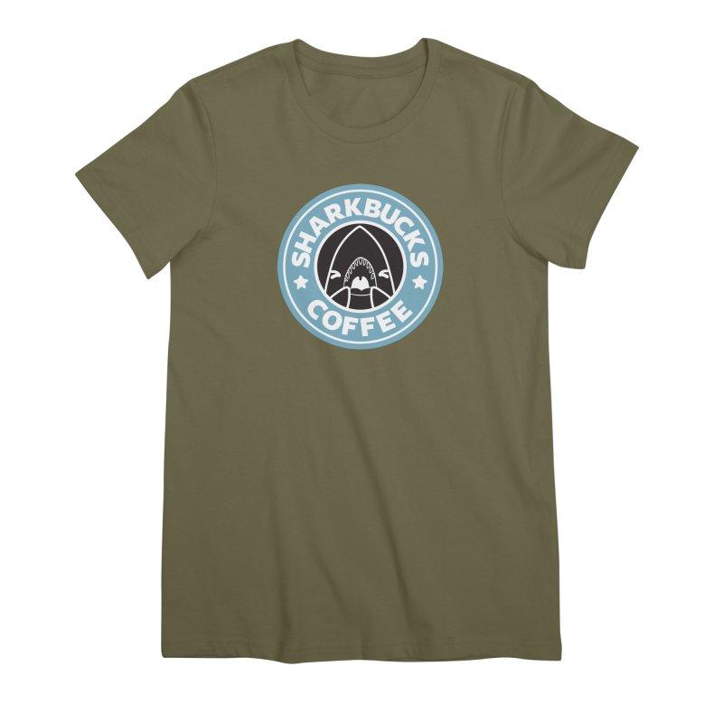 SHARKBUCKS (Blue) Women's Premium T-Shirt by Byte Size Treasure's Shop