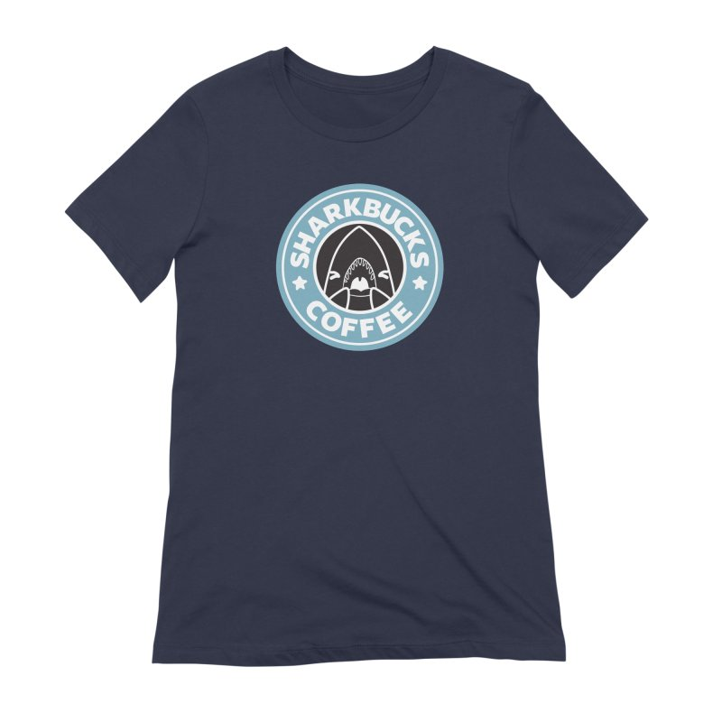 SHARKBUCKS (Blue) Women's Extra Soft T-Shirt by Byte Size Treasure's Shop