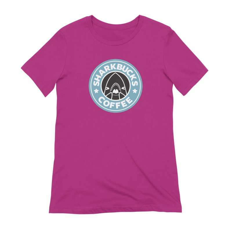 SHARKBUCKS (Blue) Women's Extra Soft T-Shirt by Byte Size Treasure's Shop