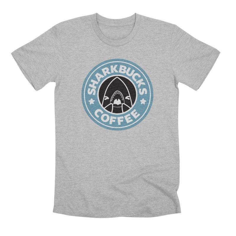 SHARKBUCKS (Blue) Men's Premium T-Shirt by Byte Size Treasure's Shop