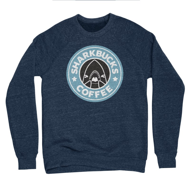 SHARKBUCKS (Blue) Men's Sponge Fleece Sweatshirt by Byte Size Treasure's Shop