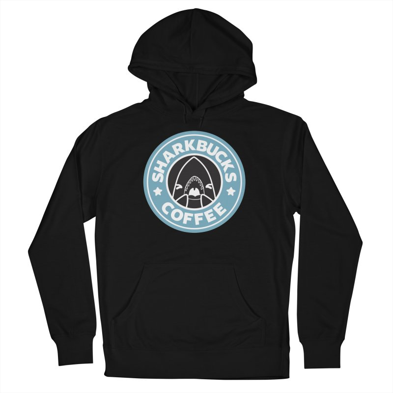 SHARKBUCKS (Blue) in Men's French Terry Pullover Hoody Black by Byte Size Treasure's Shop