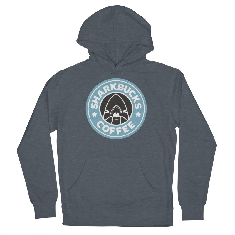 SHARKBUCKS (Blue) Men's French Terry Pullover Hoody by Byte Size Treasure's Shop
