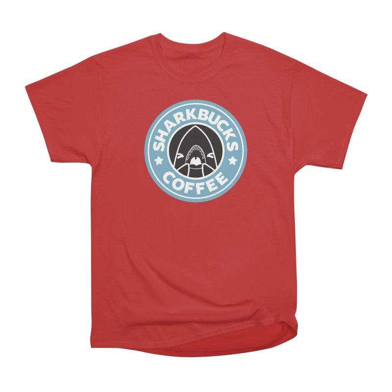 SHARKBUCKS (Blue) Men's Heavyweight T-Shirt by Byte Size Treasure's Shop