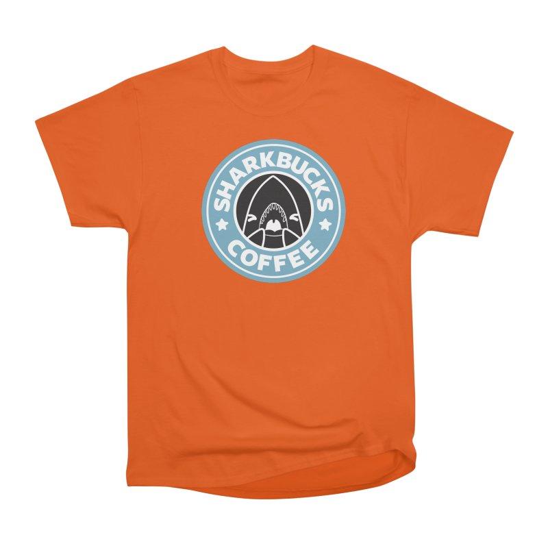 SHARKBUCKS (Blue) Women's Heavyweight Unisex T-Shirt by Byte Size Treasure's Shop