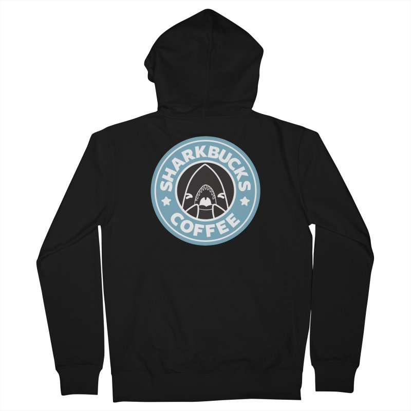 SHARKBUCKS (Blue) Men's French Terry Zip-Up Hoody by Byte Size Treasure's Shop