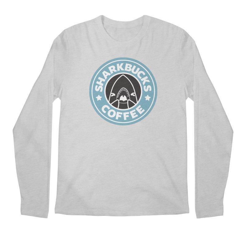 SHARKBUCKS (Blue) Men's Regular Longsleeve T-Shirt by Byte Size Treasure's Shop