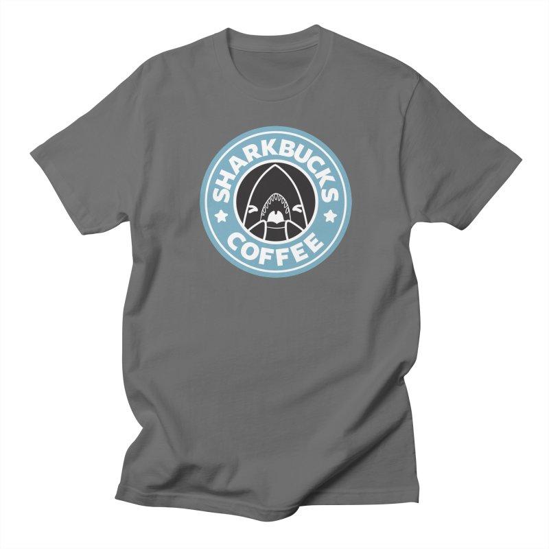 SHARKBUCKS (Blue) Men's Regular T-Shirt by Byte Size Treasure's Shop
