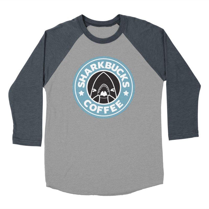 SHARKBUCKS (Blue) Men's Baseball Triblend Longsleeve T-Shirt by Byte Size Treasure's Shop